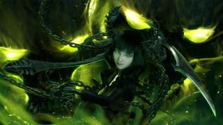 black rock shooter, аниме, девушка, фон, взгляд, меч