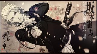 аниме, hakuouki, военная, форма, shiranui, kyou, shinsengumi, kitan, art, ухмылка, yone, kazuki, иероглифы, демоны, бледной, сакуры, пистолет