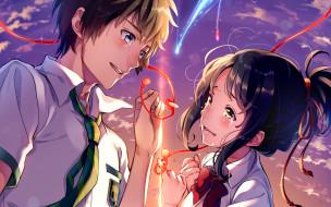 аниме, kimi no na wa, лицо, tachibana, taki, руки, kimi, no, na, wa, art, miyamizu, mitsuha, небо, школьники, makoto, shinkai, галстук, слезы, твое, имя, красная, нить