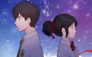 аниме, kimi no na wa, фон, взгляд, девушка
