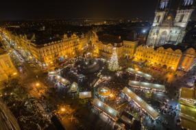 old town square - prague, города, прага , Чехия, огни, ночь