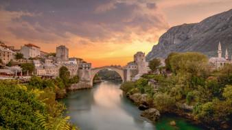 mostar,  bosnia, города, - панорамы, мост, река