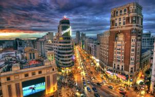 города, мадрид , испания, вечер, дома, огни, дорога, небо, облака, закат, движение, фонари, madrid, улицы