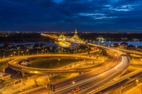 nonthaburi,  thailand, города, - огни ночного города, огни, ночь