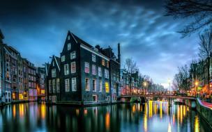 города, амстердам , нидерланды, сумерки, мост, канал