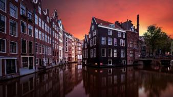 города, амстердам , нидерланды, дома, канал, закат