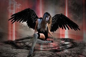 фэнтези, ангелы, девушка, фон, крылья, пиктограмма