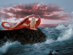 фэнтези, _luis royo, девушка, фон, взгляд, море, камень, крылья