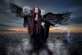 фэнтези, фотоарт, девушка, фон, взгляд, крылья, молния