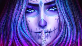 фэнтези, нежить, череп, sugar, skull, day, of, the, dead, лицо, dia, de, los, muertos, девушка, art, взгляд, красота, палец