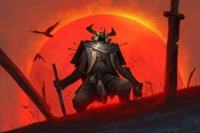 фэнтези, нежить, солнце, меч, птицы, samurai, доспех, воин, голова