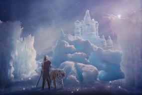 фэнтези, фотоарт, девушка, фон, кольчуга, меч, тигр, снег, лёд