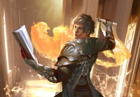 фэнтези, маги,  волшебники, феникс, свиток, мужчина, книга, маг, магия, огонь