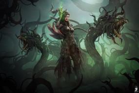 фэнтези, существа, женщина, фантазия, тьма, чудовище, маг, монстр