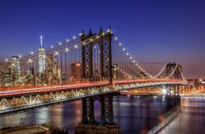 города, - мосты, сша, огни, нью, йорк, город, ночь, мост, свет