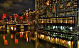 города, амстердам , нидерланды, канал, ночь