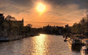 города, амстердам , нидерланды, баржи, канал, закат