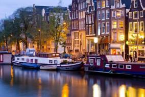 города, амстердам , нидерланды, баржи, канал, вечер