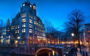 города, амстердам , нидерланды, мост, фонари, вечер