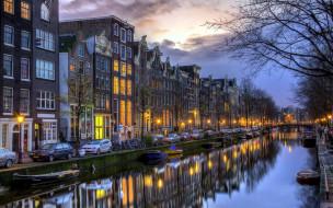 города, амстердам , нидерланды, фонари, лодки, дома, вечер, канал