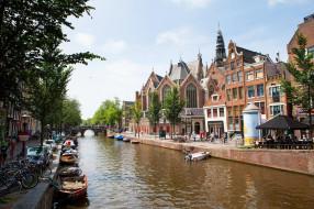 города, амстердам , нидерланды, велосипеды, лодки, мост, канал