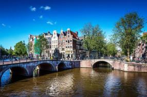 города, амстердам , нидерланды, канал, мосты