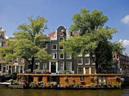 города, амстердам , нидерланды, цветники, баржа, канал