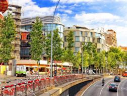 города, барселона , испания, здания, дорога, улица