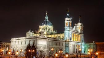 города, барселона , испания, собор, фонари, вечер