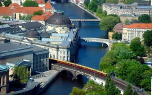 города, берлин , германия, панорама, мосты, крыши, река