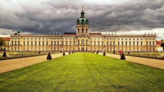 города, берлин , германия, клумбы, дворец, лужайки
