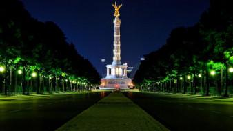 города, берлин , германия, вечер, монумент, фонари, деревья, проспект