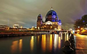 города, берлин , германия, вечер, мост, река, набережная