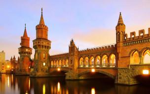 города, берлин , германия, вечер, башни, мост, река, отражение