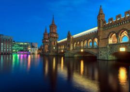 города, берлин , германия, вечер, башни, мост, река