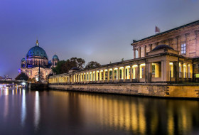 города, берлин , германия, вечер, река, коллонада