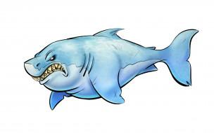 рисованное, минимализм, акула, рыба, зубастая, светлый, фон, shark