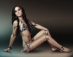 фэнтези, роботы,  киборги,  механизмы, купальник, девушка, взгляд, фон