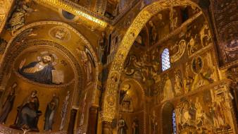 интерьер, убранство,  роспись храма, палермо, италия, часовня, сицилия, норманнский, дворец, палатинская, капелла, палатина