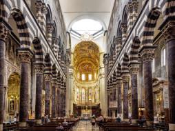 интерьер, убранство,  роспись храма, скамья, алтарь, арка, италия, колонна, генуя, неф, кафедральный, собор, сан-лоренцо