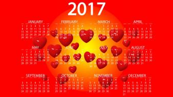 цифры, графика, новый год, вектор, сердца, дизайн, фон, желтый, красный