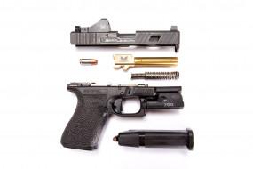 разобранный, детали, пистолет, Glock