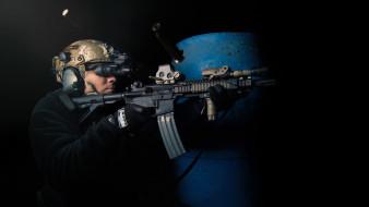 бинокль ночного видения, гильзы, стрельба, автомат, солдат, оружие