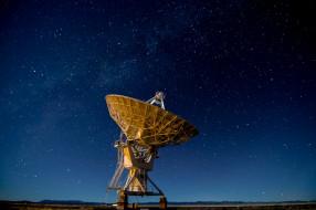 Нью-Мексико, силуэт, антенна, холмы, космос, звезды, Соединенные Штаты, Very Large Array, Млечный Путь