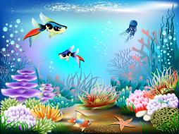 векторная графика, животные , animals, подводный, мир, кораллы, вектор, пузырьки, рыбы