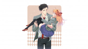 аниме, gekkan shoujo nozaki-kun, двое