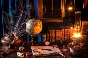 разное, ретро,  винтаж, книги, перья, трубка, лупа, лампа