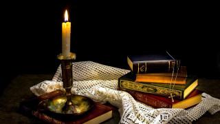 разное, канцелярия,  книги, подсвечник, книги, свеча, крестик