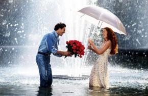 разное, мужчина женщина, букет, влюбленные, зонтик, фонтан, розы