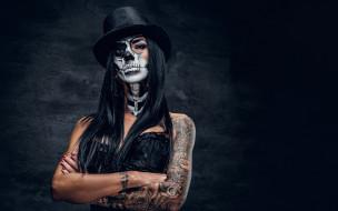разное, маски,  карнавальные костюмы, makeup, female, look, day, of, the, dead, brazos, woman, tattoos